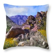 Spring Wildflowers At Anza Borrego Throw Pillow