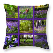 Spring Woodland Picture Window Throw Pillow