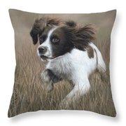 Springer Spaniel Painting Throw Pillow