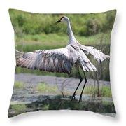 Springing Sandhill Crane Throw Pillow
