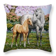Spring's Gift - Mare And Foal Throw Pillow by Crista Forest