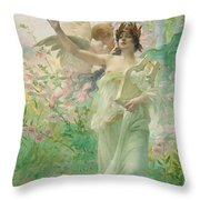 Springtime Allegory Throw Pillow