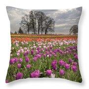 Springtime At Tulip Farm Throw Pillow