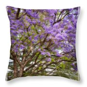 Springtime Jacaranda Tree Throw Pillow