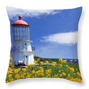 Springtime Lighthouse Throw Pillow