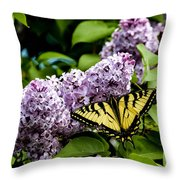 Springtime Lilac And Butterfly Throw Pillow