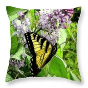 Springtime Moments- The Butterfly And The Lilac  Throw Pillow