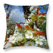 Springtime Pear Blossoms - Hello Spring Throw Pillow