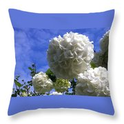 Springtime Snowballs Throw Pillow