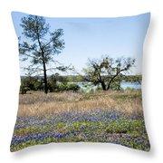 Springtime Texas Bluebonnets Naturalized Throw Pillow