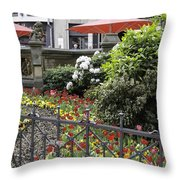Springtime Tulips In Cologne Germany Throw Pillow