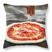 Sprinkling Cheese On Home Made Pizza Throw Pillow