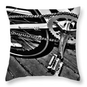 Sprocket And Chain - Black And White Throw Pillow
