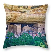Spruce Tree House On Chapin Mesa In Mesa Verde National Park-colorado  Throw Pillow