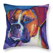 Square Boxer Portrait Throw Pillow by Robyn Saunders