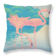 Square Format - Pink Flamingos Retro Pop Art Nouveau Tropical Bird 80s 1980s Florida Painting Print Throw Pillow
