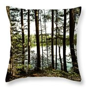 Square North Woods Lake Throw Pillow