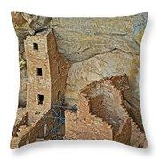 Square Tower House Closeup On Chapin Mesa Top Loop Road In Mesa Verde National Park-colorado Throw Pillow