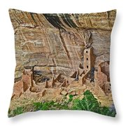 Square Tower House On Chapin Mesa Top Loop Road In Mesa Verde National Park-colorado Throw Pillow