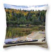 Squareback Canoe With Engine Throw Pillow