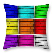 Squared Color Wall  Throw Pillow