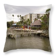 Squid Lips Restaurant  At The Eau Gallie Causeway Over The India Throw Pillow