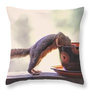 Squirrel And Coffee Throw Pillow