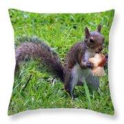 Squirrel Eats Mushroom Throw Pillow
