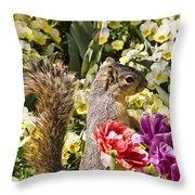 Squirrel In The Botanic Garden-dallas Arboretum V4 Throw Pillow