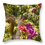 Squirrel In The Botanic Garden-dallas Arboretum V5 Throw Pillow