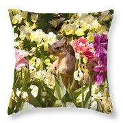 Squirrel In The Botanic Garden-dallas Arboretum V6 Throw Pillow