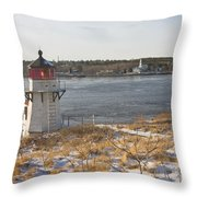 Squirrel Point Lighthouse Kennebec River Maine Throw Pillow by Keith Webber Jr