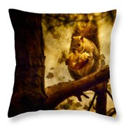 Squirrel With Pear Throw Pillow