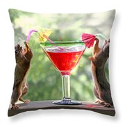 Squirrels At Cocktail Hour Throw Pillow