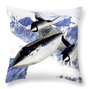 Sr-71 Over Snow Capped Mountains Throw Pillow