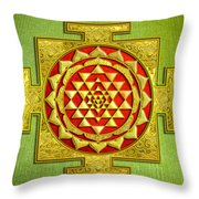 Sri Gold Yantra Throw Pillow
