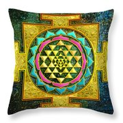 Sri Yantra Gold And Stars Throw Pillow