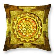 Sri Yantra Gold Stone Throw Pillow