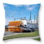 Ss Klondike Sternwheeler From Stern On The Yukon River In Whitehorse-yk Throw Pillow