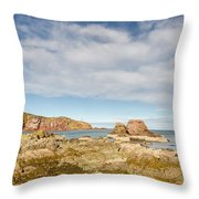 St Abbs Rocky Shoreline Throw Pillow