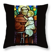 St Anthony In Stained Glass Throw Pillow