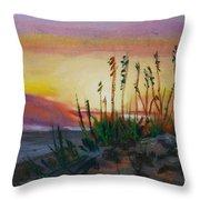 Beach At Sunrise Throw Pillow