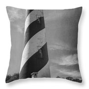 St Augustine Lighthouse Bw Throw Pillow