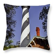St Augustine Lighthouse - Old Florida Charm Throw Pillow by Christine Till