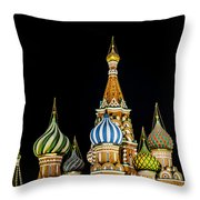 St. Basil's Cathedral At Night Throw Pillow