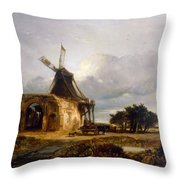 St Benets Abbey And Mill, Norfolk, 1833 Throw Pillow