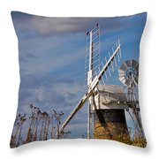 St Benets Drainage Mill Norfolk Throw Pillow