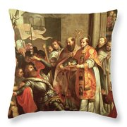 St. Bernard Of Clairvaux 1090-1153 And William X 1099-1137 Duke Of Aquitaine Oil On Canvas Throw Pillow