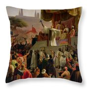 St Bernard Preaching The Second Crusade In Vezelay Throw Pillow