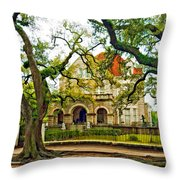 St. Charles Ave. Mansion Paint Throw Pillow